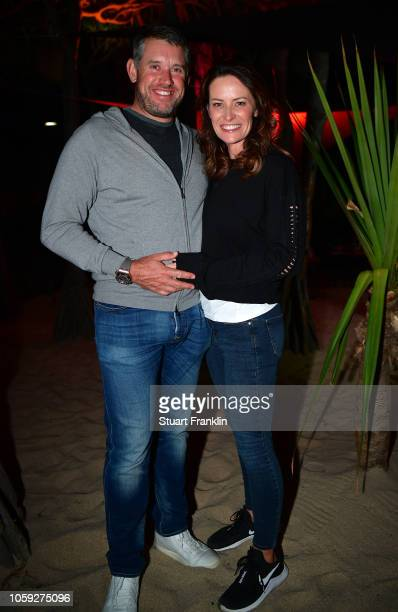 Lee Westwood of England and his partner Helen Storey at the beach party after the first round of the Nedbank Golf Challenge at Gary Player CC on...