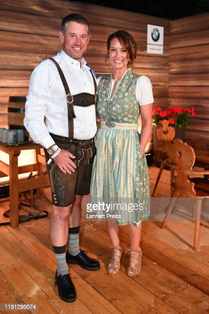 Lee Westwood of England and his partner Helen Storey attend the BMW International Open 2019 Players Night at P1 club on June 21 2019 in Munich Germany
