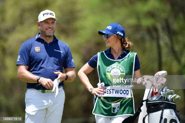 Lee Westwood of England and his partnew Helen Storey looks on during day one of the Nedbank Golf Challenge at Gary Player Golf Course on November 8...