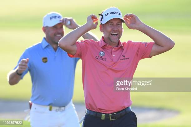 Lee Westwood of England and Ian Poulter of England after the first round of the Abu Dhabi HSBC Championship at Abu Dhabi Golf Club on January 16 2020...