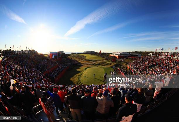 Lee Westwood of England and team Europe plays his shot from the first tee during Friday Morning Foursome Matches of the 43rd Ryder Cup at Whistling...