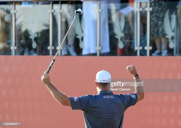 Lee Westwood of England celebrates his win on the 18th hole during the final round of the Abu Dhabi HSBC Championship at Abu Dhabi Golf Club on...