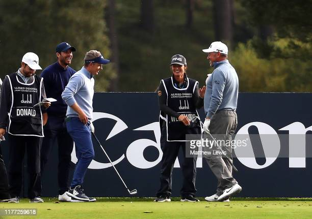 Lee Westwood of England celebrates making a holeinone on the 8th hole during Day one of the Alfred Dunhill Links Championship at Carnoustie Golf...