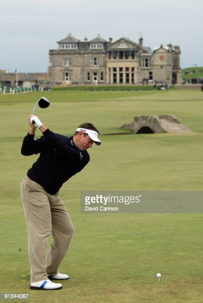 Lee Westwood of England drives off the 18th tee during the second round of The Alfred Dunhill Links Championship at The Old Course on October 2 2009...