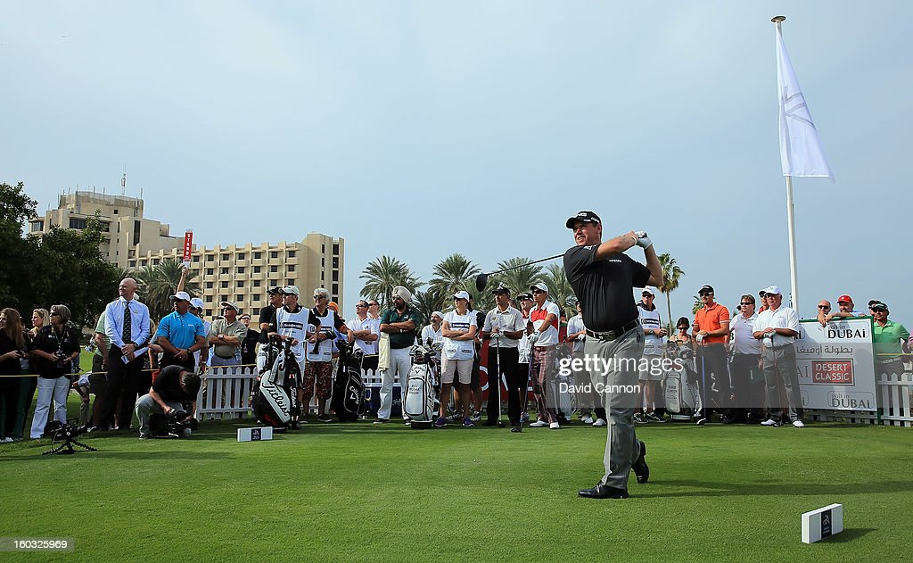 Lee Westwood of England during the Challenge match at The Jebel Ali Hotel and Golf Resort as a preview for the 2013 Dubai Desert Classic on January 29, 2013 in Dubai, United Arab Emirates.