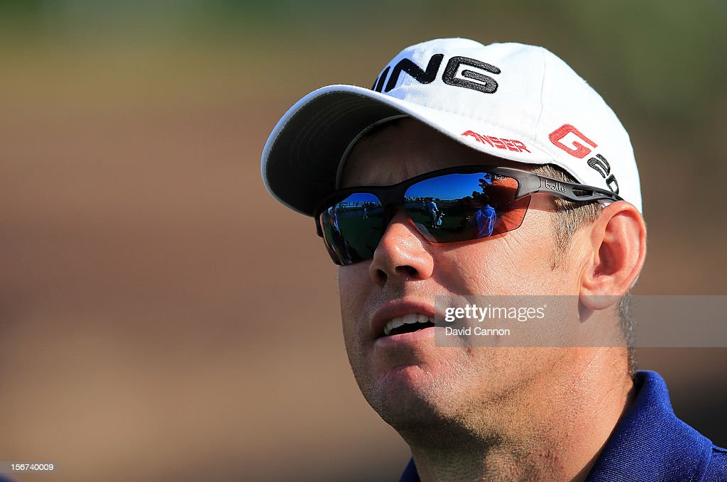 Lee Westwood of England during the pro-am as a preview for the 2012 DP World Tour Championship on the Earth Course at Jumeirah Golf Estates on November 20, 2012 in Dubai, United Arab Emirates.