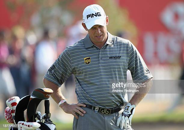 Lee Westwood of England during the second round of The Abu Dhabi HSBC Golf Championship at Abu Dhabi Golf Club on January 27, 2012 in Abu Dhabi,...