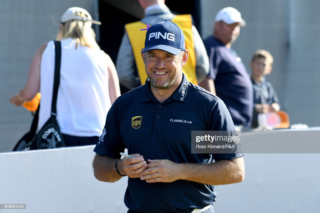 Lee Westwood of England finishes his practice round prior to the 146th Open Championship at Royal Birkdale on July 17, 2017 in Southport, England.