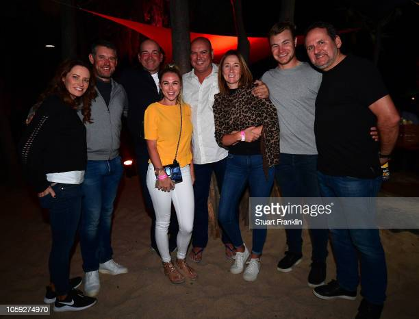 Lee Westwood of England helen Storey Thomas Bjorn of Denmark oliver Fisher of England and friends at the beach party after the first round of the...