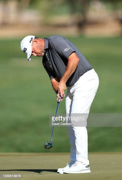Lee Westwood of England hits a putt on the 10th hole during the final round of the Abu Dhabi HSBC Championship at Abu Dhabi Golf Club on January 19...