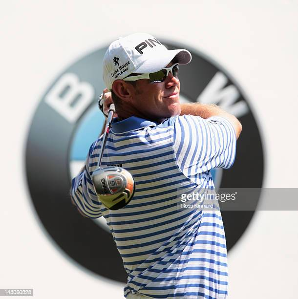 Lee Westwood of England hits a tee shot shot during the Pro-Am round prior to the BMW PGA Championship on the West Course at the Wentworth Club on...
