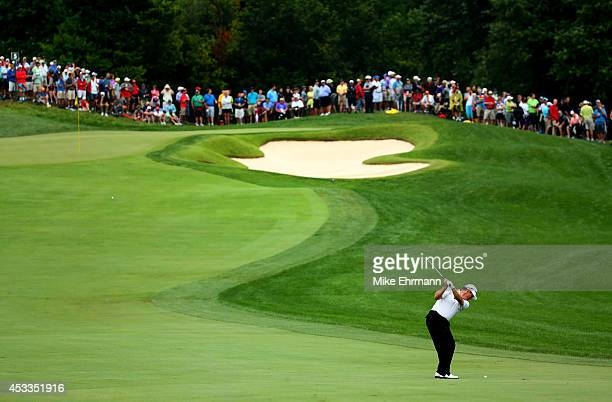 Lee Westwood of England hits an approach on the fifth hole during the second round of the 96th PGA Championship at Valhalla Golf Club on August 8,...