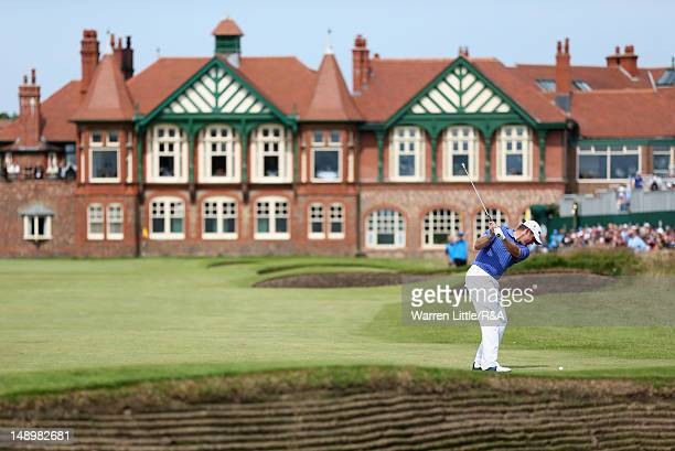 Lee Westwood of England hits an approach shot to the 18th green during the third round of the 141st Open Championship at Royal Lytham St Annes Golf...
