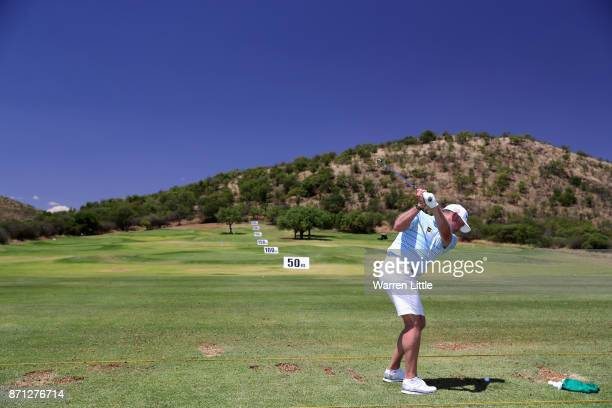 Lee Westwood of England hits ball on the range at the Lost City ahead of the Nedbank Golf Challenge at Gary Player CC on November 7 2017 in Sun City...