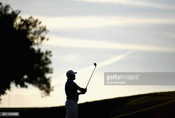Lee Westwood of England hits his second shot on the 12th hole during the third round of the US Open at Oakmont Country Club on June 18 2016 in...