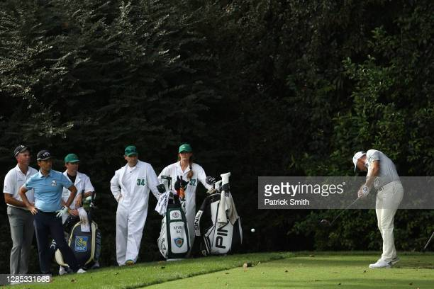 Lee Westwood of England hits his tee shot on the 14th hole during the first round of the Masters at Augusta National Golf Club on November 12, 2020...