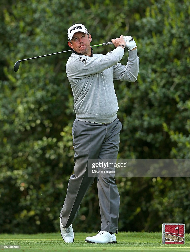 Lee Westwood of England hits his tee shot on the 14th hole during the second round of the Wells Fargo Championship at Quail Hollow Club on May 3, 2013 in Charlotte, North Carolina.