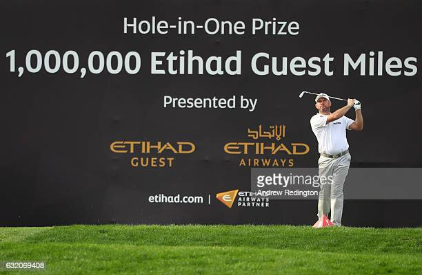 Lee Westwood of England hits his tee shot on the 15th hole during the first round of the Abu Dhabi HSBC Championship at the Abu Dhabi Golf Club on...