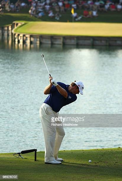 Lee Westwood of England hits his tee shot on the 17th hole during the third round of THE PLAYERS Championship held at THE PLAYERS Stadium course at...