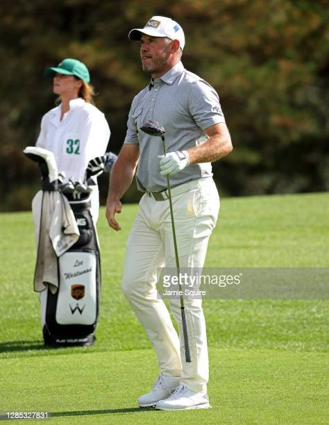 Lee Westwood of England hits his tee shot on the eighth hole during the first round of the Masters at Augusta National Golf Club on November 12, 2020...