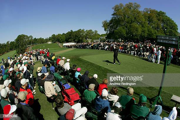 Lee Westwood of England hits his tee shot on the first hole during the third round of The Masters at the Augusta National Golf Club on April 7 2007...