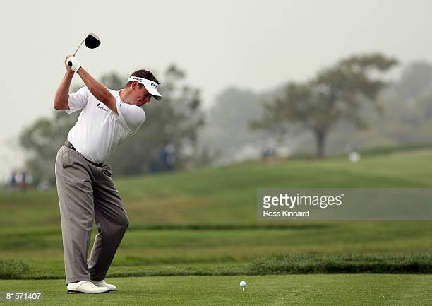 Lee Westwood of England hits his tee shot on the fourth hole during the third round of the 108th U.S. Open at the Torrey Pines Golf Course on June...