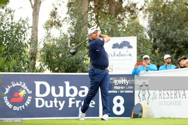 Lee Westwood of England hits their tee shot on the eighth hole during the third round on day four of Andalucia Valderrama Masters at Real Club...