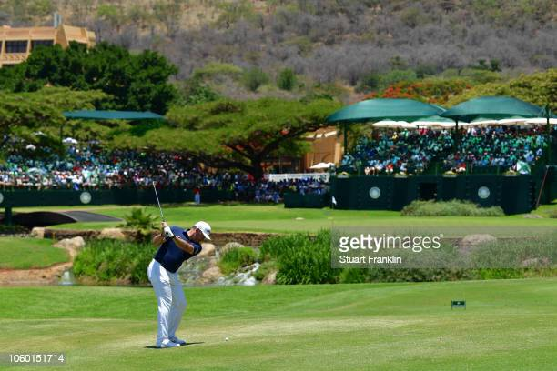 Lee Westwood of England in action during Day Four of the Nedbank Golf Challenge at Gary Player CC on November 11 2018 in Sun City South Africa