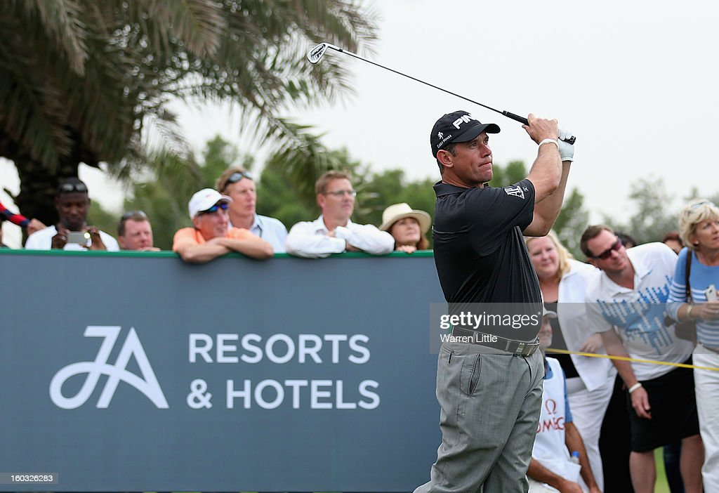 Lee Westwood of England in action during the Challenge match at The Jebel Ali Hotel and Golf Resort as a preview for the Omega Dubai Desert Classic on January 29, 2013 in Dubai, United Arab Emirates.