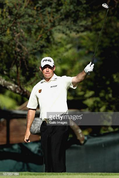 Lee Westwood of England in action during the final round of the Nedbank Golf Challenge at Gary Player Country Club on December 05 2010 in Sun City...