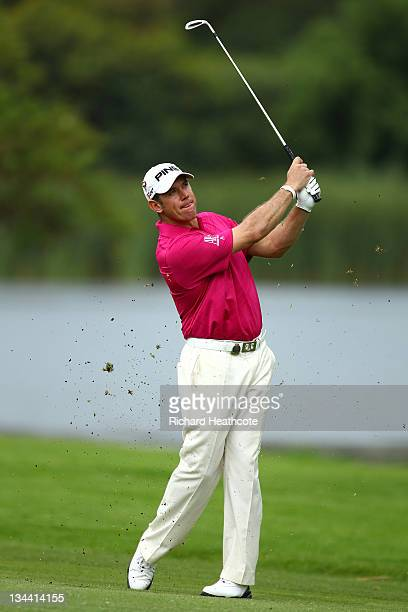 Lee Westwood of England in action during the first round of the Nedbank Golf Challenge at the Gary Player Country Club on December 1, 2011 in Sun...