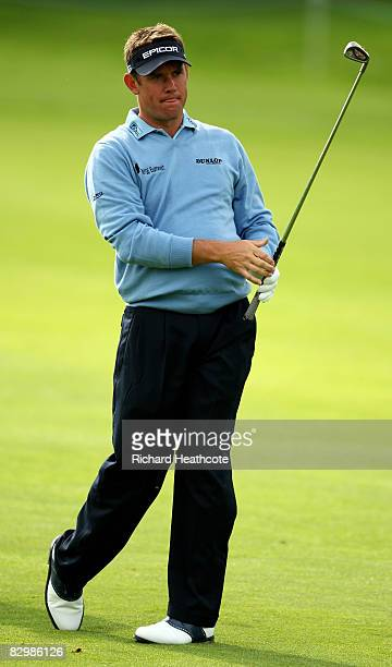 Lee Westwood of England in action during the proam for The Quinn Insurance British Masters on The Brabazon course at The Belfry on September 24 2008...