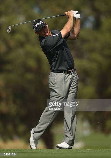 Lee Westwood of England in action during the third round for the 2011 Omega Dubai desert Classic held on the Majilis Course at the Emirates Golf Club...