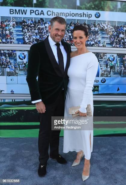 Lee Westwood of England is pictured with his girlfriend Helen Storey during An Evening With Mike Rutherford The Mechanics and Friends at the BMW PGA...
