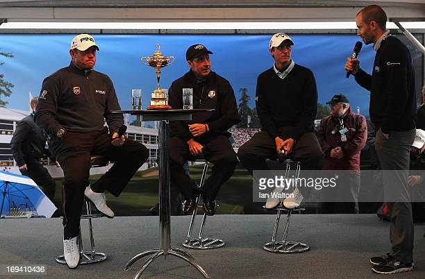 Lee Westwood of England Jose Maria Olazabal of Spain and Nicolas Colsaerts of Belgium take part in a question and answer session with the public in...