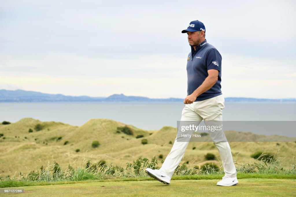 Lee Westwood of England leaves the tee on hole fifteen during day one of the Aberdeen Standard Investments Scottish Open at Gullane Golf Course on July 12, 2018 in Gullane, Scotland.