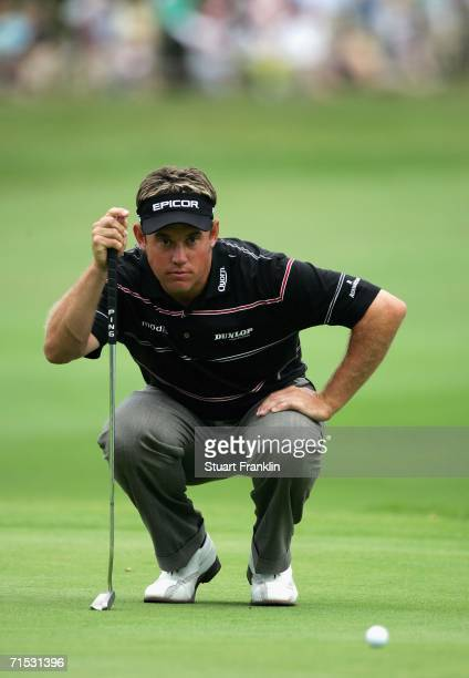 Lee Westwood of England lines up his putt on the 18th hole during the second round of The Deutsche Bank Players Championship of Europe at Gut Kaden...