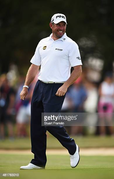 Lee Westwood of England looks happy during the second round of the Omega European Masters at Crans-sur-Sierre Golf Club on July 24, 2015 in...