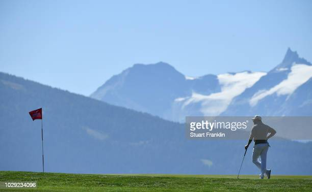 Lee Westwood of England looks on during the third round of The Omega European Masters at CranssurSierre Golf Club on September 8 2018 in CransMontana...