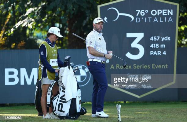 Lee Westwood of England looks on with caddie Helen Storey during Day Three of the Italian Open at Olgiata Golf Club on October 12 2019 in Rome Italy