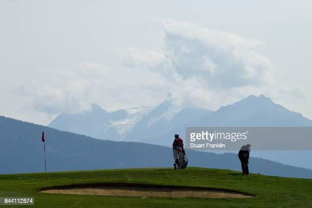 Lee Westwood of England on the 7th during Day Two of the 2017 Omega European Masters at CranssurSierre Golf Club on September 8 2017 in CransMontana...