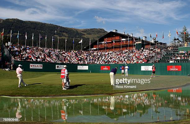 Lee Westwood of England on the par four 18th during the third round of the Omega European Masters at the Crans-Sur-Sierre Golf Club on September 8,...