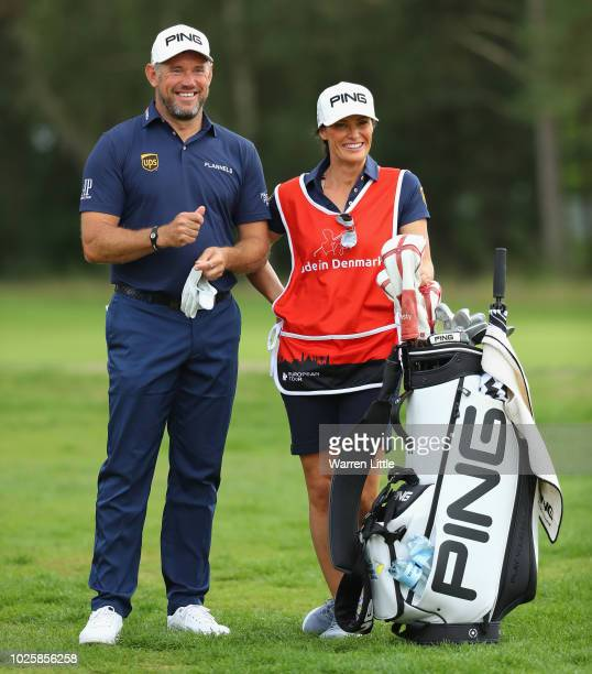 Lee Westwood of England pictured with girlfiriend and caddie Helen Storey during the third round of the Made in Denmark played at the Silkeborg Ry GC...
