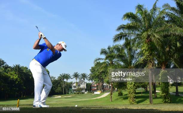 Lee Westwood of England plays a shot during Day Two of the Maybank Championship Malaysia at Saujana Golf Club on February 10 2017 in Kuala Lumpur...