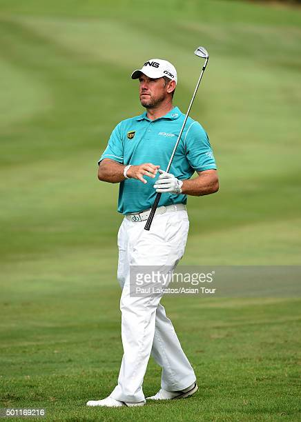 Lee Westwood of England plays a shot during round four of the Thailand Golf Championship at Amata Spring Country Club on December 13 2015 in Chon...