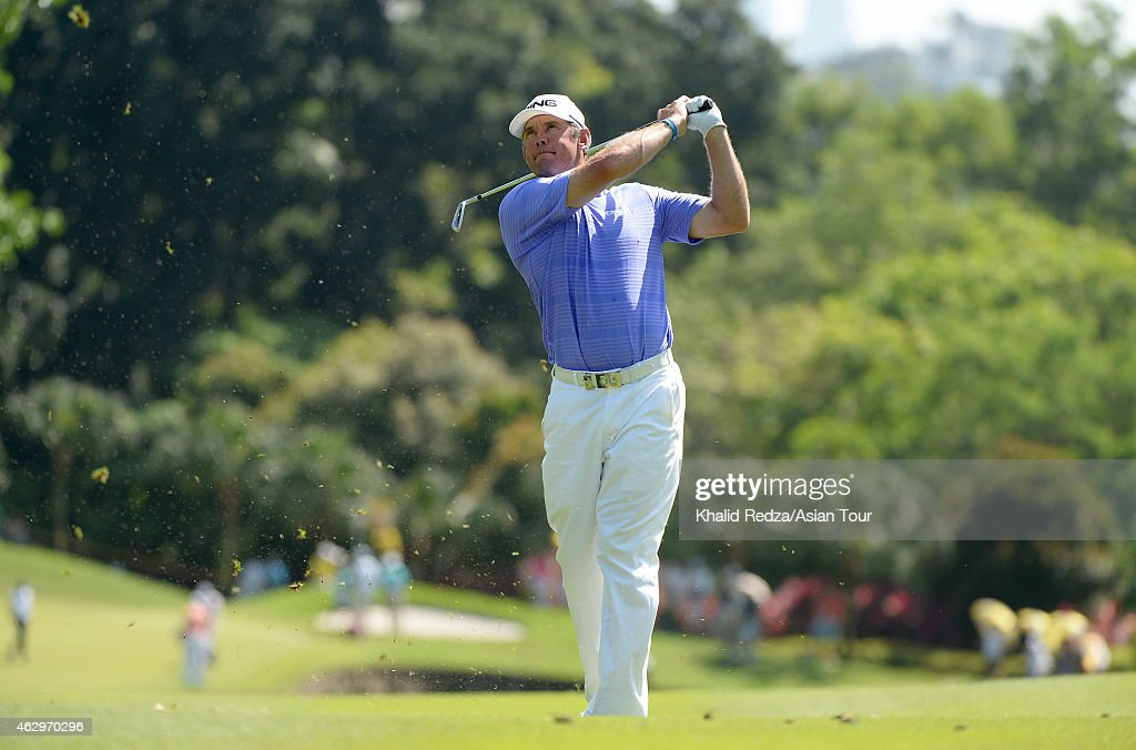 Lee Westwood of England plays a shot during round four of the Maybank Malaysian Open at Kuala Lumpur Golf & Country Club on February 8, 2015 in Kuala Lumpur, Malaysia.