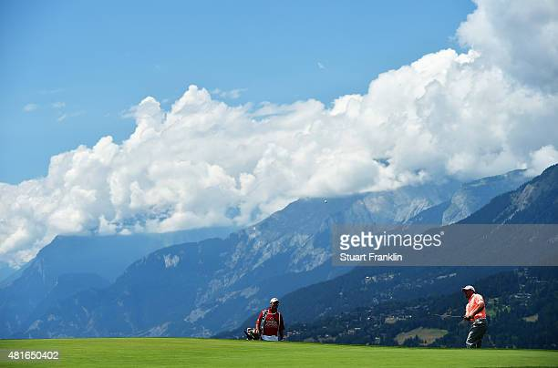 Lee Westwood of England plays a shot during the first round of the Omega European Masters at Crans-sur-Sierre Golf Club on July 23, 2015 in...