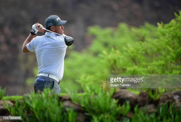 Lee Westwood of England plays a shot during the pro - am prior to the start of the Nedbank Golf Challenge at Gary Player CC on November 6, 2018 in...