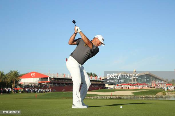 Lee Westwood of England plays his second shot on the 18th hole during Day 4 of the Abu Dhabi HSBC Championship at Abu Dhabi Golf Club on January 19,...