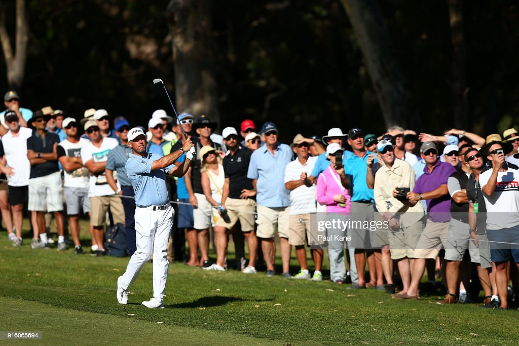Lee Westwood of England plays his second shot on the 18th hole during day two of the World Super 6 at Lake Karrinyup Country Club on February 9, 2018 in Perth, Australia.